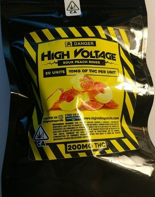 High Voltage Sour Peach Rings 200mg