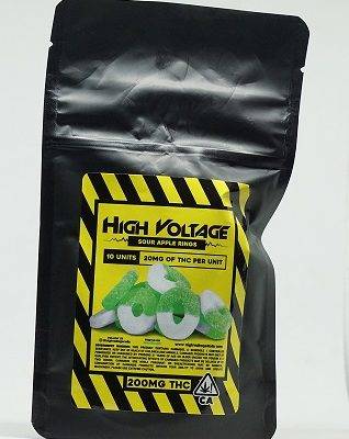 High Voltage Sour Apple Rings 400mg